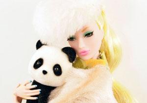 BLond Barbie with Panda