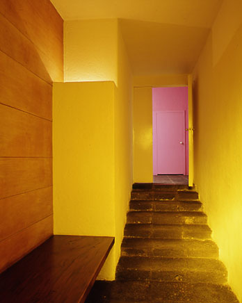 Pink accent in a private residence designed by architect Luis Barragán in Mexico