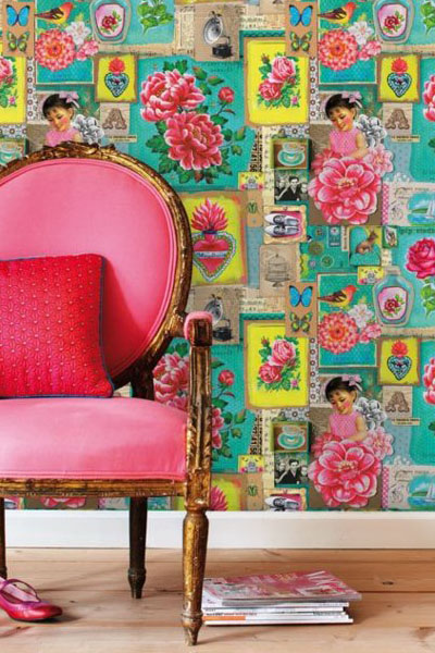 Pink and green chinese inspired wallpaper with pink chair