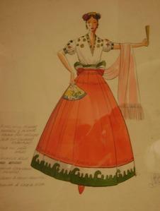 Drawing of a Mexican regional dress by Ramon Valdiosera