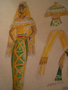 Sketch of a traditional outfit for Poza Rica by Ramon Valdiosera