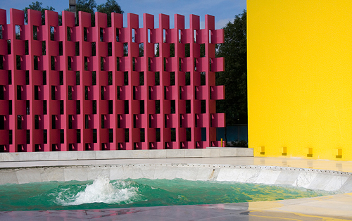 Pink accent wall in the courtyard of the Camino Real Hotel in Mexico
