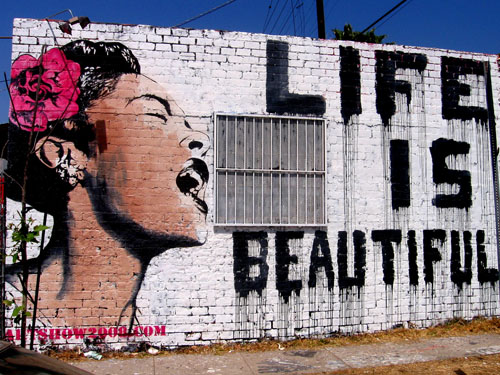 Life is Beautiful Billie Holliday with Pink flower in the hair by Pop artist Mr.Brainwash
