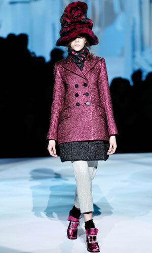 Pink jacket at Marc Jacobs Fall Winter 2012 Runway Show at NY Fashion Week