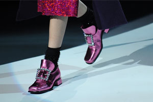 Pink Pilgrim shoes with rhinestoned buckle