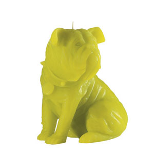 Citron Bulldog-shaped candle by Bougie la Francaise