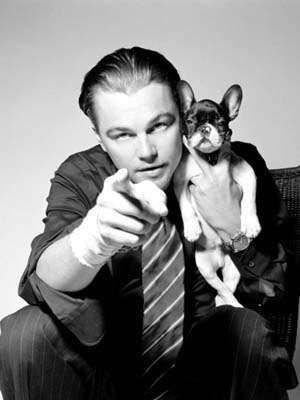 Leonardo DiCaprio with his French bulldog Django