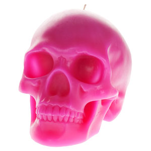 Memento Mori Pink skull-shaped candle by DL & Company