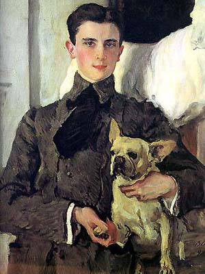 Portrait of Prince Yusupov with his French bulldog by Valentin Aleksandrovich Serov, 1903