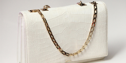 White crocodile handbag by Victoria Beckham