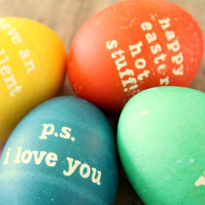 Colorful Easter eggs with messages