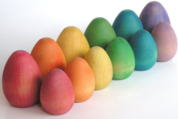 Rainbow dyed Easter eggs